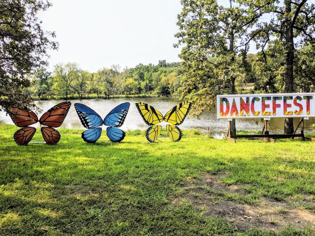Giant butterflies at one of the music festivals