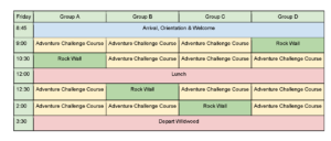 Sample schedule for Total Wildwood Challenge